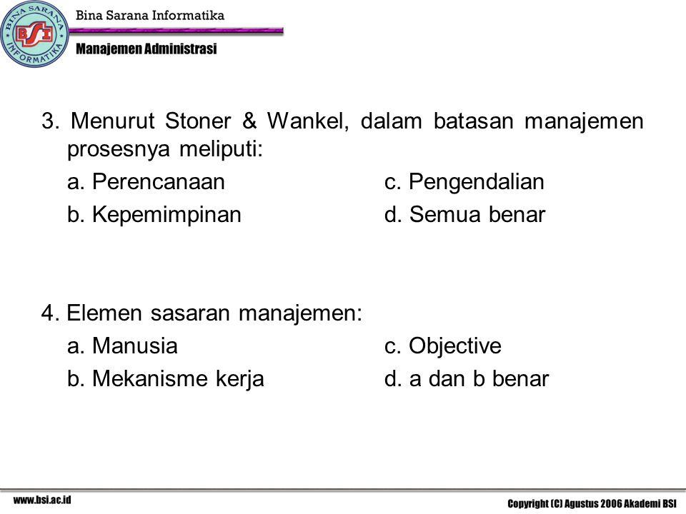 3. Menurut Stoner & Wankel, dalam batasan manajemen prosesnya meliputi: