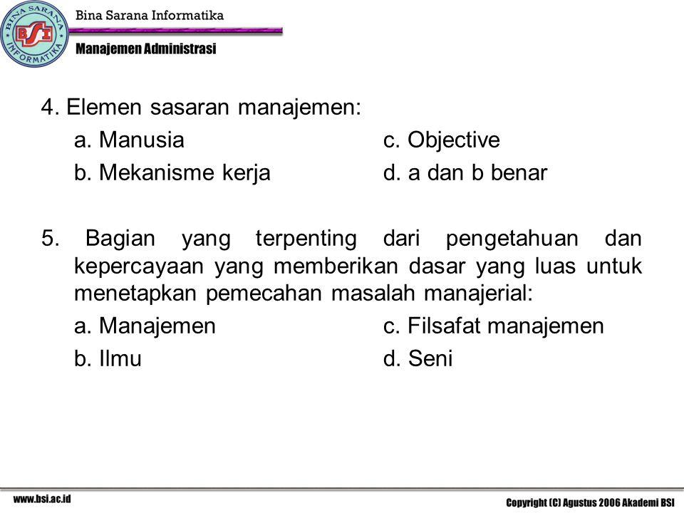 4. Elemen sasaran manajemen: