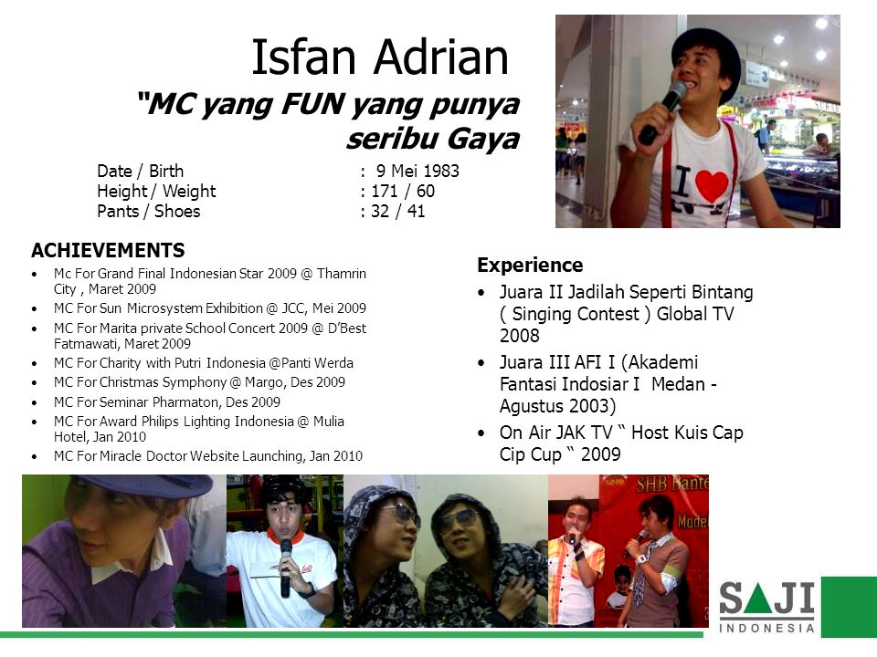 Isfan Adrian MC yang FUN yang punya seribu Gaya ACHIEVEMENTS