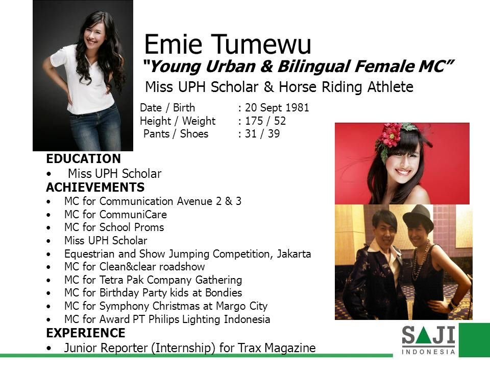 Emie Tumewu Young Urban & Bilingual Female MC