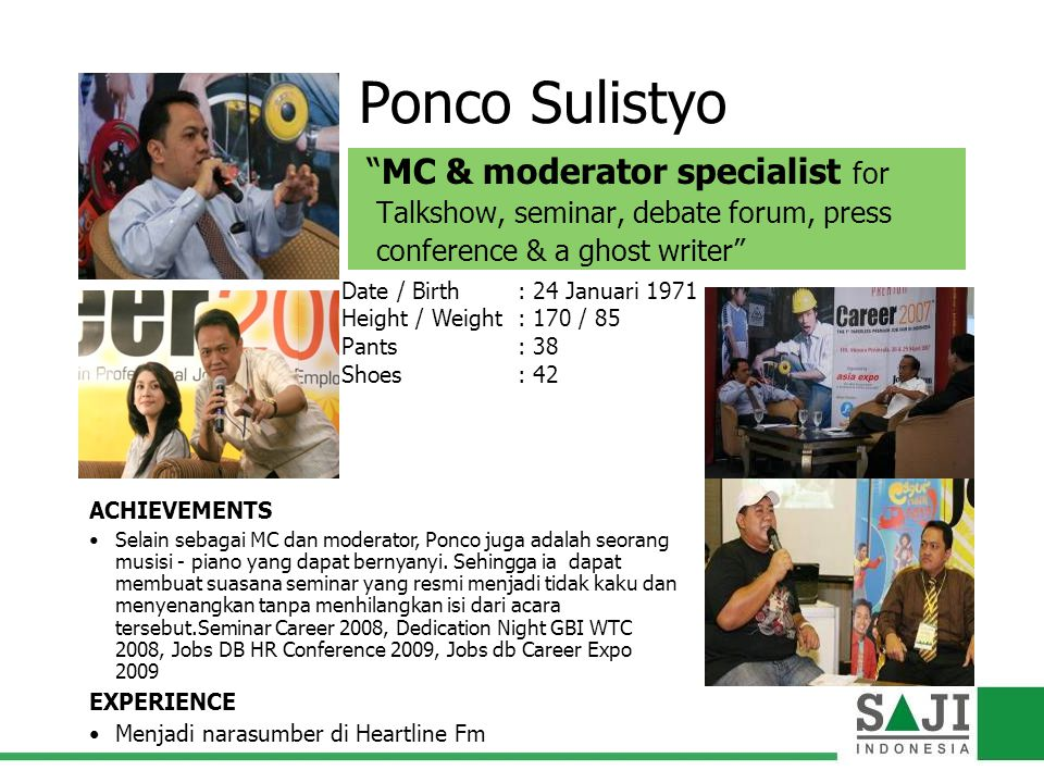 Ponco Sulistyo MC & moderator specialist for