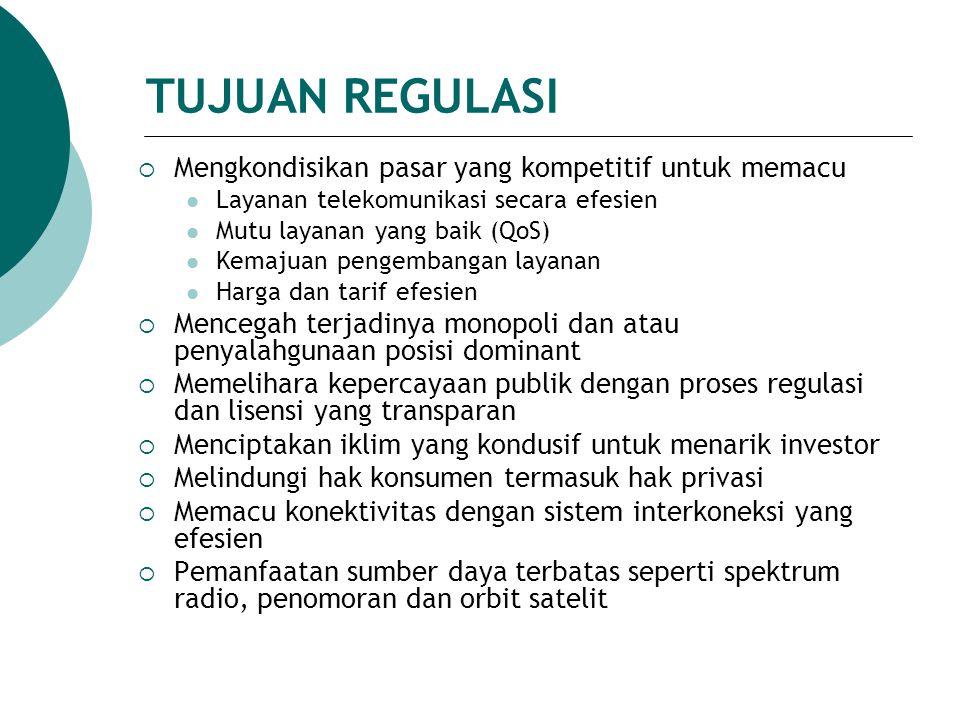 TUJUAN REGULASI Mengkondisikan pasar yang kompetitif untuk memacu