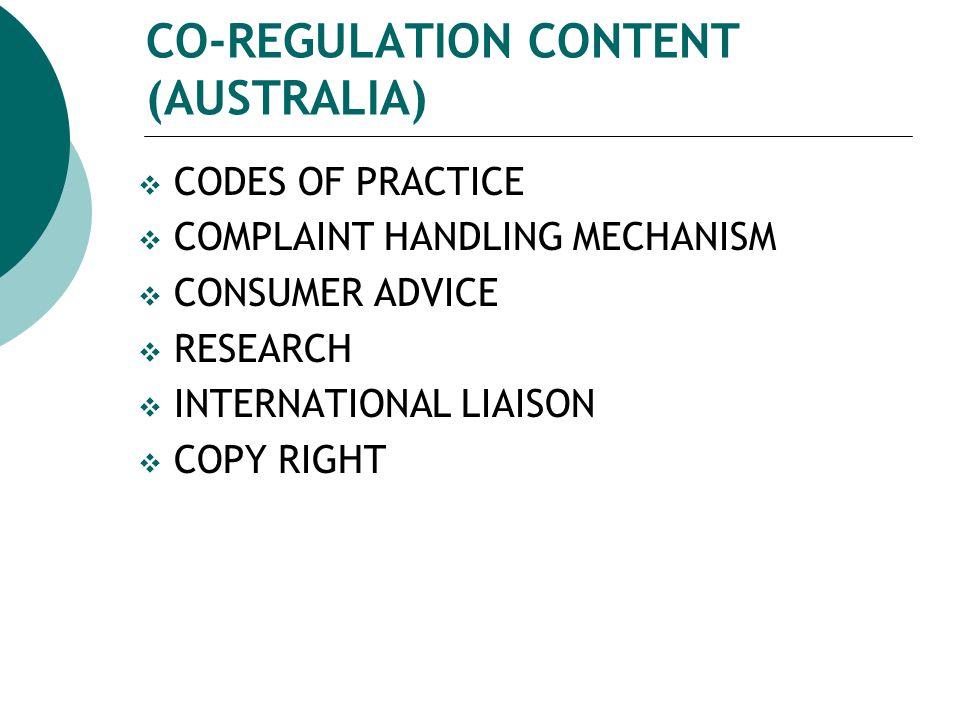 CO-REGULATION CONTENT (AUSTRALIA)