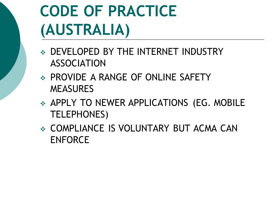 CODE OF PRACTICE (AUSTRALIA)