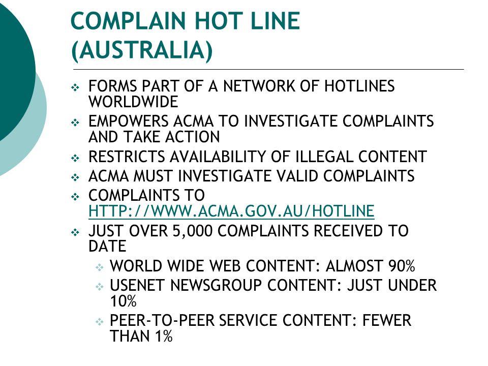 COMPLAIN HOT LINE (AUSTRALIA)