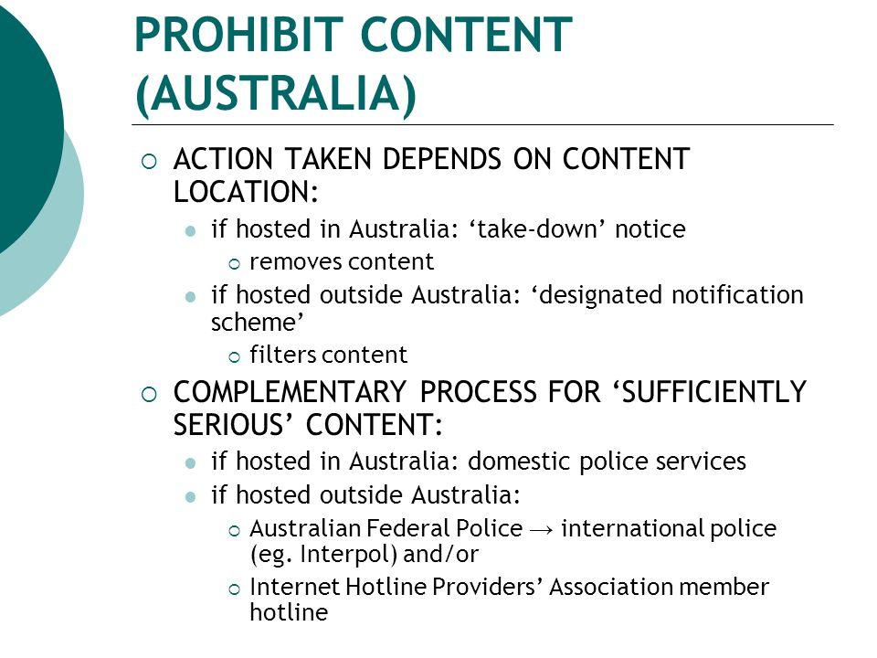 PROHIBIT CONTENT (AUSTRALIA)