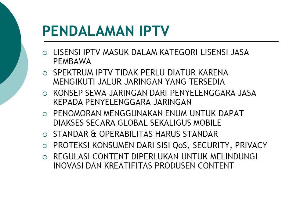 PENDALAMAN IPTV LISENSI IPTV MASUK DALAM KATEGORI LISENSI JASA PEMBAWA