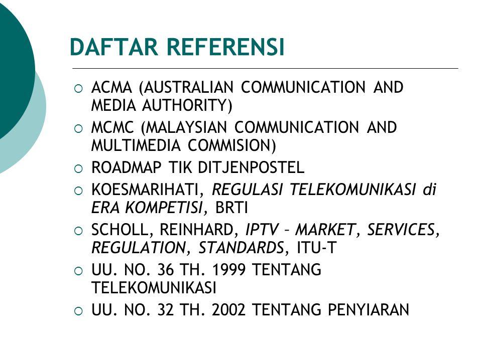DAFTAR REFERENSI ACMA (AUSTRALIAN COMMUNICATION AND MEDIA AUTHORITY)