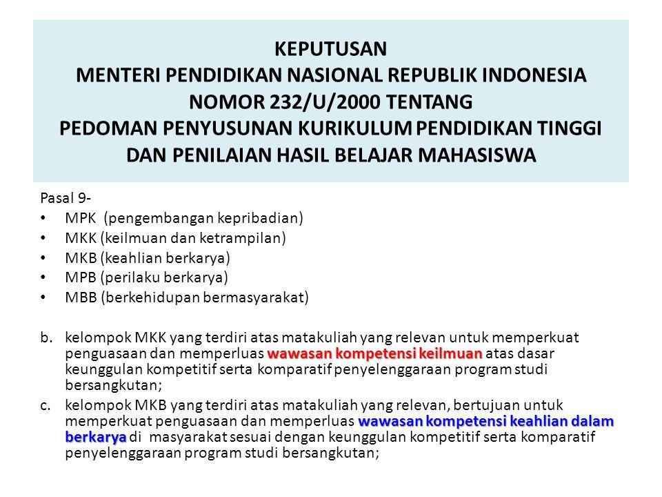 KEPUTUSAN MENTERI PENDIDIKAN NASIONAL REPUBLIK INDONESIA NOMOR 232/U/2000 TENTANG PEDOMAN PENYUSUNAN KURIKULUM PENDIDIKAN TINGGI DAN PENILAIAN HASIL BELAJAR MAHASISWA