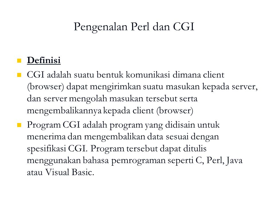 Pengenalan Perl dan CGI