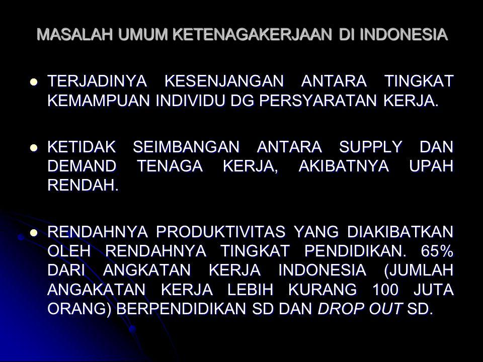 MASALAH UMUM KETENAGAKERJAAN DI INDONESIA