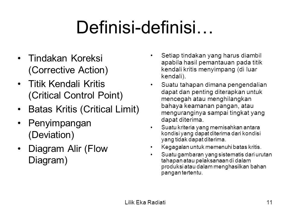 Definisi-definisi… Tindakan Koreksi (Corrective Action)