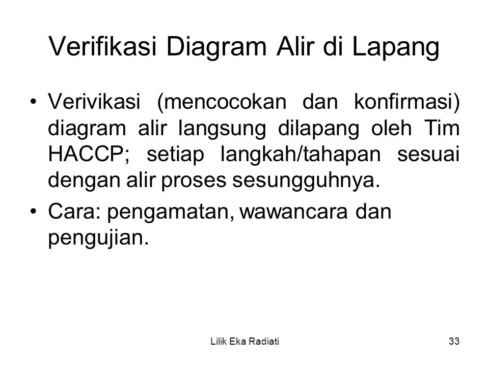 Verifikasi Diagram Alir di Lapang