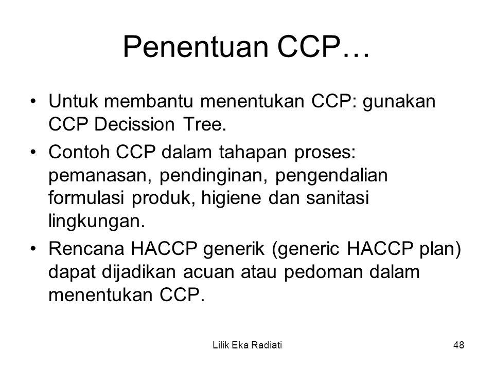 Penentuan CCP… Untuk membantu menentukan CCP: gunakan CCP Decission Tree.