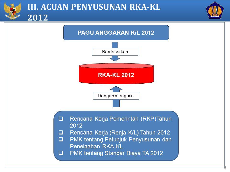 III. ACUAN PENYUSUNAN RKA-KL 2012