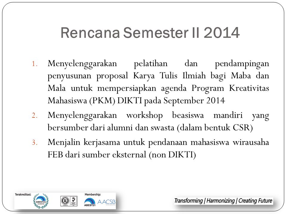 Rencana Semester II 2014
