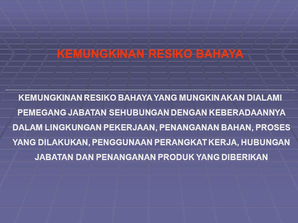 KEMUNGKINAN RESIKO BAHAYA