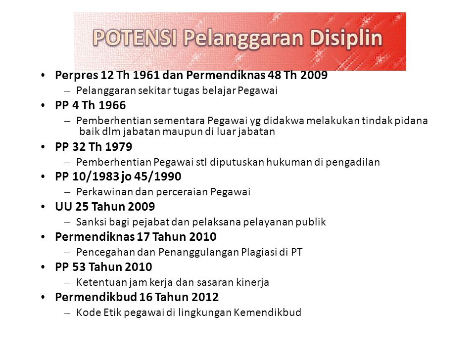 • Perpres 12 Th 1961 dan Permendiknas 48 Th 2009