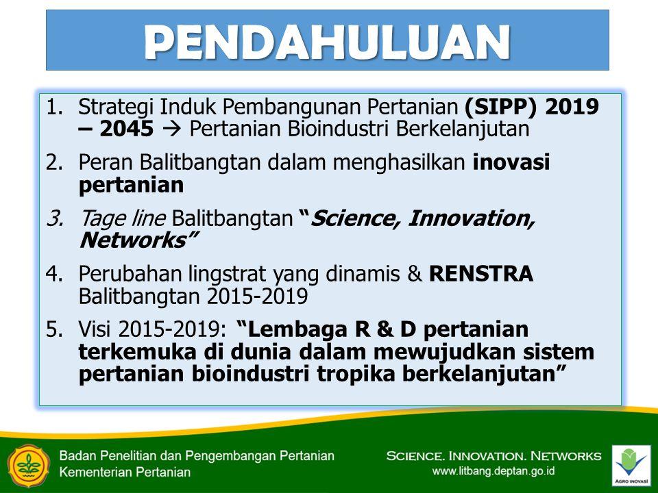 PENDAHULUAN Strategi Induk Pembangunan Pertanian (SIPP) 2019 – 2045  Pertanian Bioindustri Berkelanjutan.