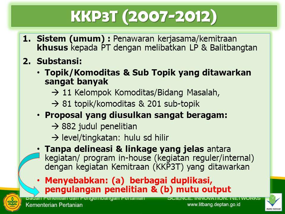 KKP3T (2007-2012) Sistem (umum) : Penawaran kerjasama/kemitraan khusus kepada PT dengan melibatkan LP & Balitbangtan.