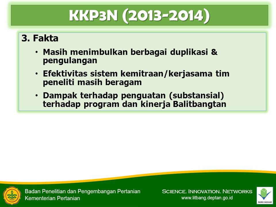 KKP3N (2013-2014) 3. Fakta. Masih menimbulkan berbagai duplikasi & pengulangan. Efektivitas sistem kemitraan/kerjasama tim peneliti masih beragam.