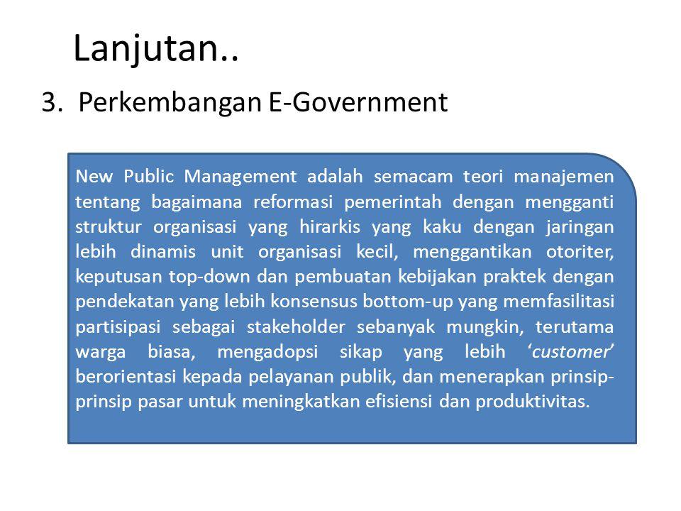 Lanjutan.. 3. Perkembangan E-Government