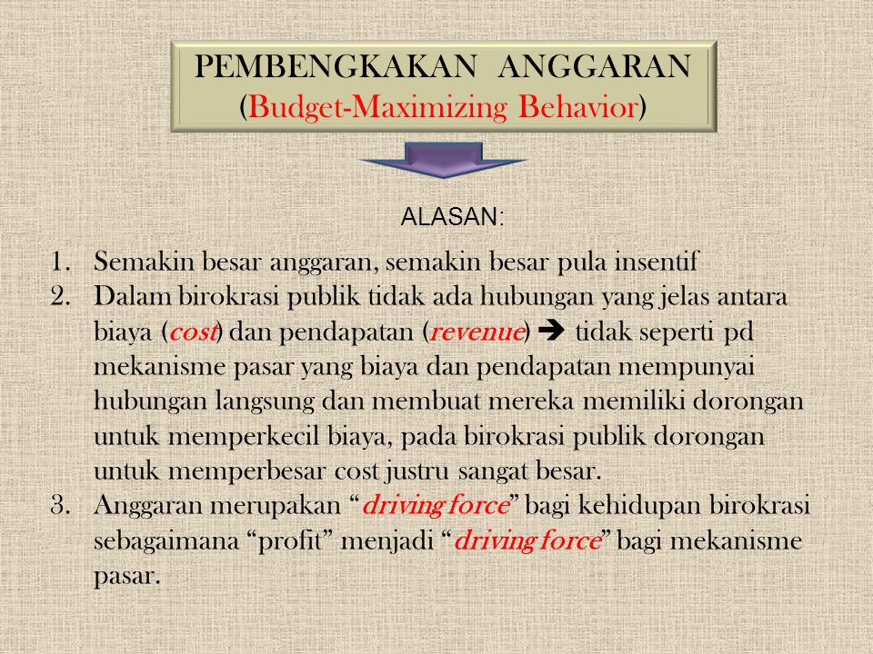PEMBENGKAKAN ANGGARAN (Budget-Maximizing Behavior)