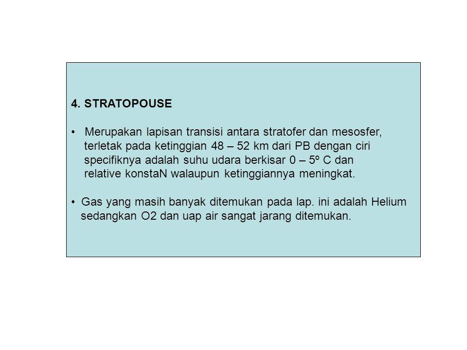 4. STRATOPOUSE Merupakan lapisan transisi antara stratofer dan mesosfer, terletak pada ketinggian 48 – 52 km dari PB dengan ciri.