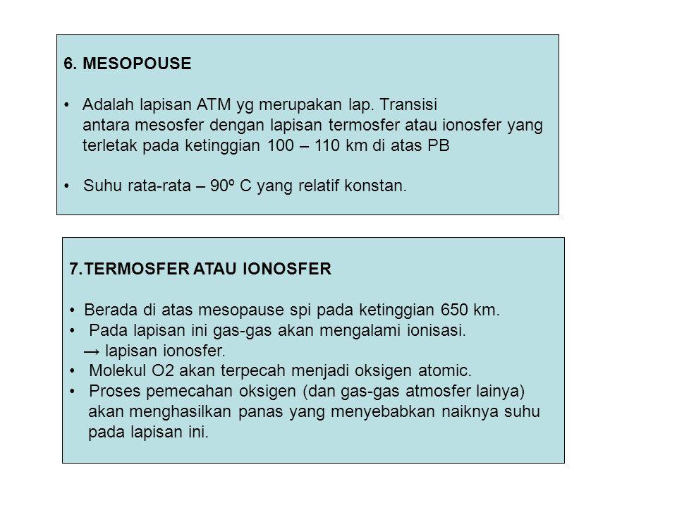 6. MESOPOUSE Adalah lapisan ATM yg merupakan lap. Transisi. antara mesosfer dengan lapisan termosfer atau ionosfer yang.