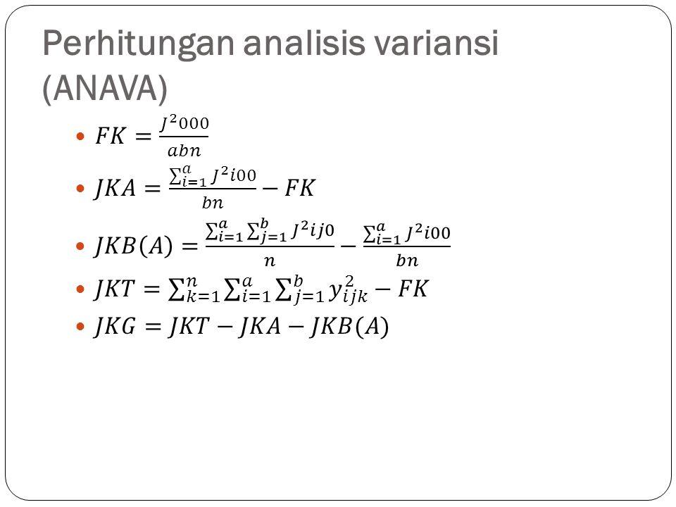 Perhitungan analisis variansi (ANAVA)