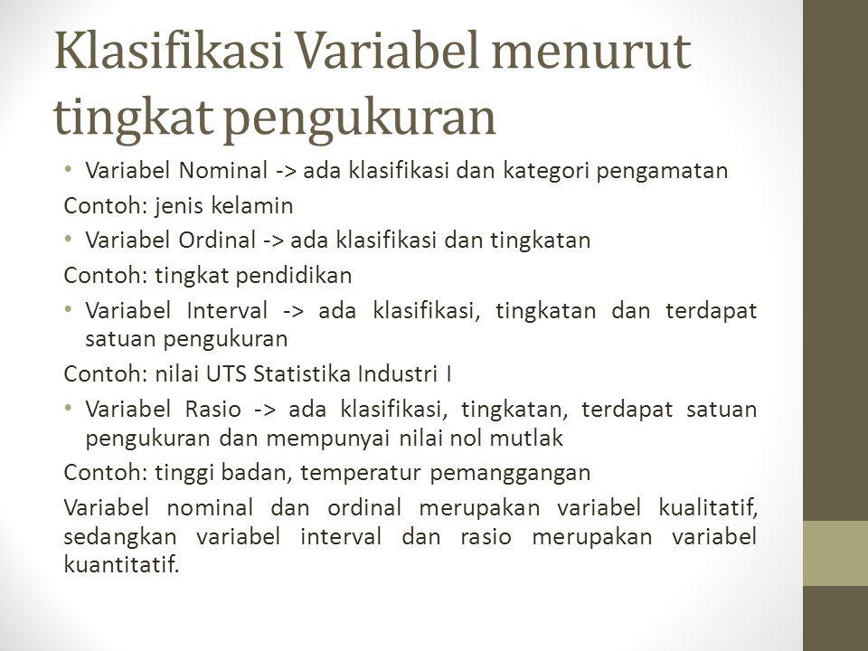 Klasifikasi Variabel menurut tingkat pengukuran