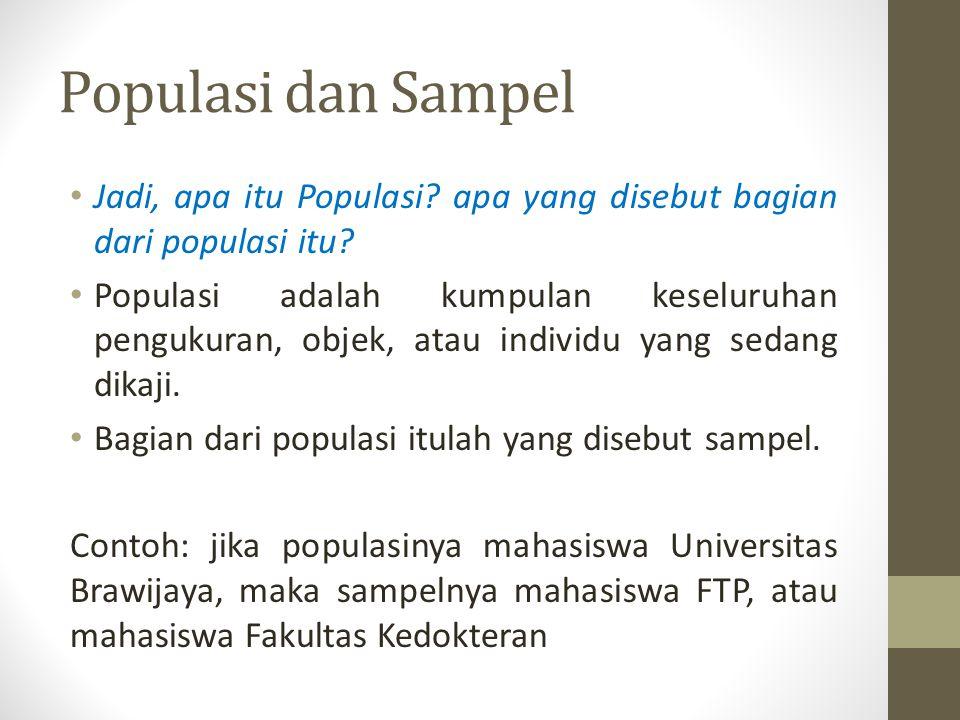 Populasi dan Sampel Jadi, apa itu Populasi apa yang disebut bagian dari populasi itu