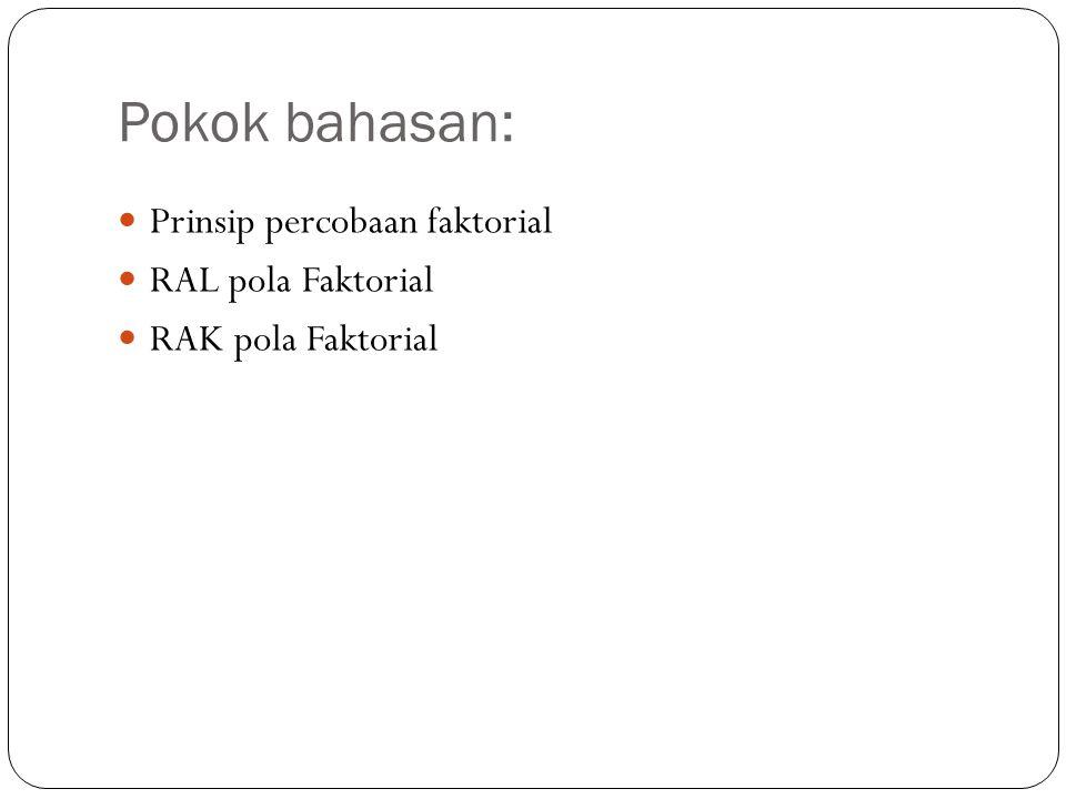 Pokok bahasan: Prinsip percobaan faktorial RAL pola Faktorial