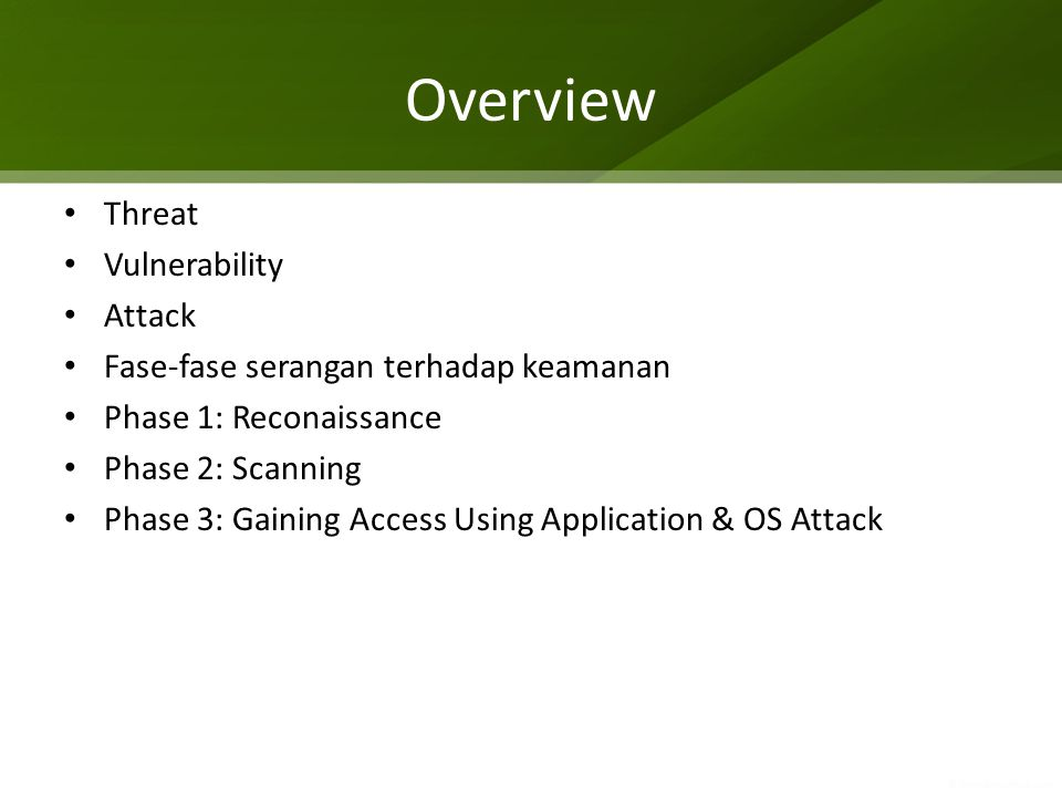 Overview Threat Vulnerability Attack