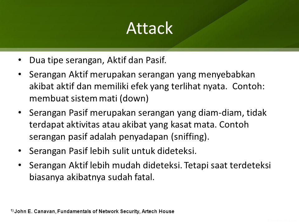 Attack Dua tipe serangan, Aktif dan Pasif.