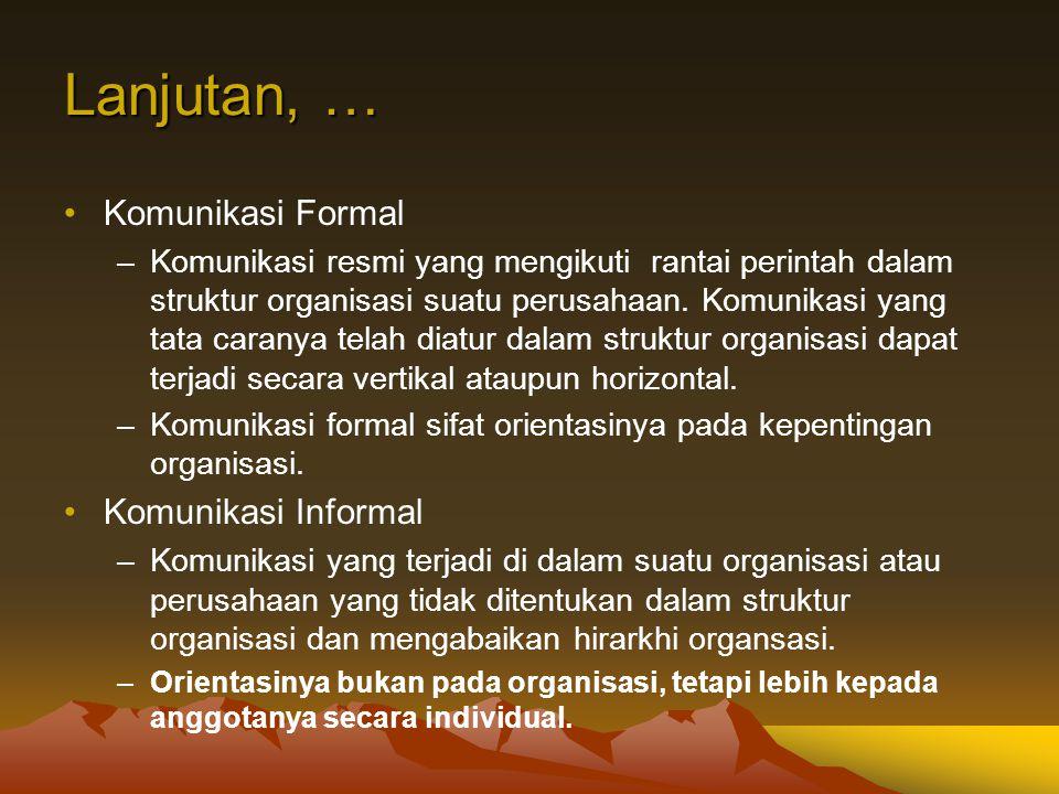 Lanjutan, … Komunikasi Formal Komunikasi Informal