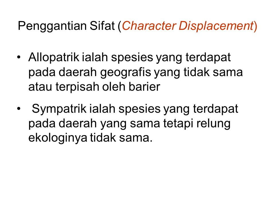 Penggantian Sifat (Character Displacement)