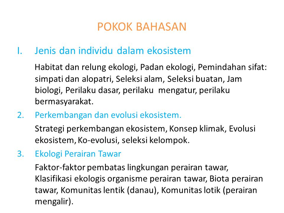 POKOK BAHASAN Jenis dan individu dalam ekosistem