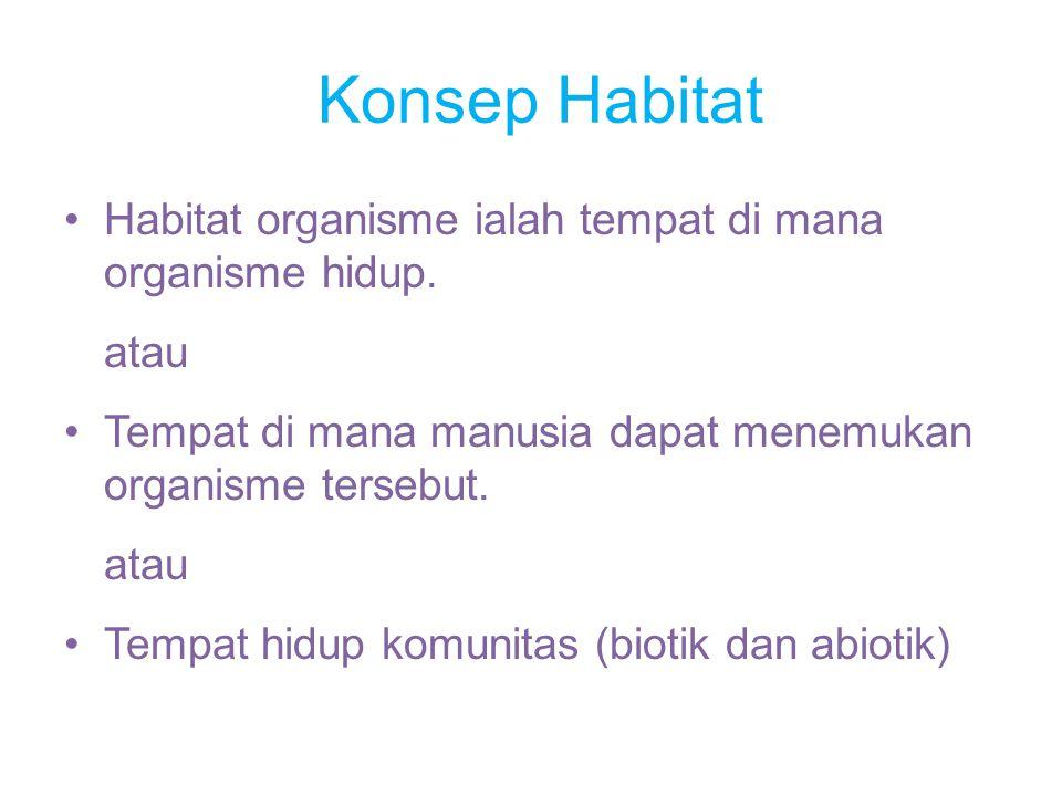 Konsep Habitat Habitat organisme ialah tempat di mana organisme hidup.