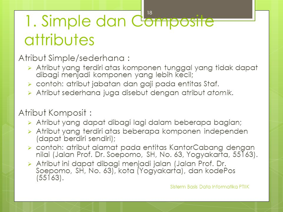 1. Simple dan Composite attributes