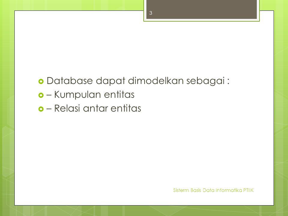 Database dapat dimodelkan sebagai : – Kumpulan entitas