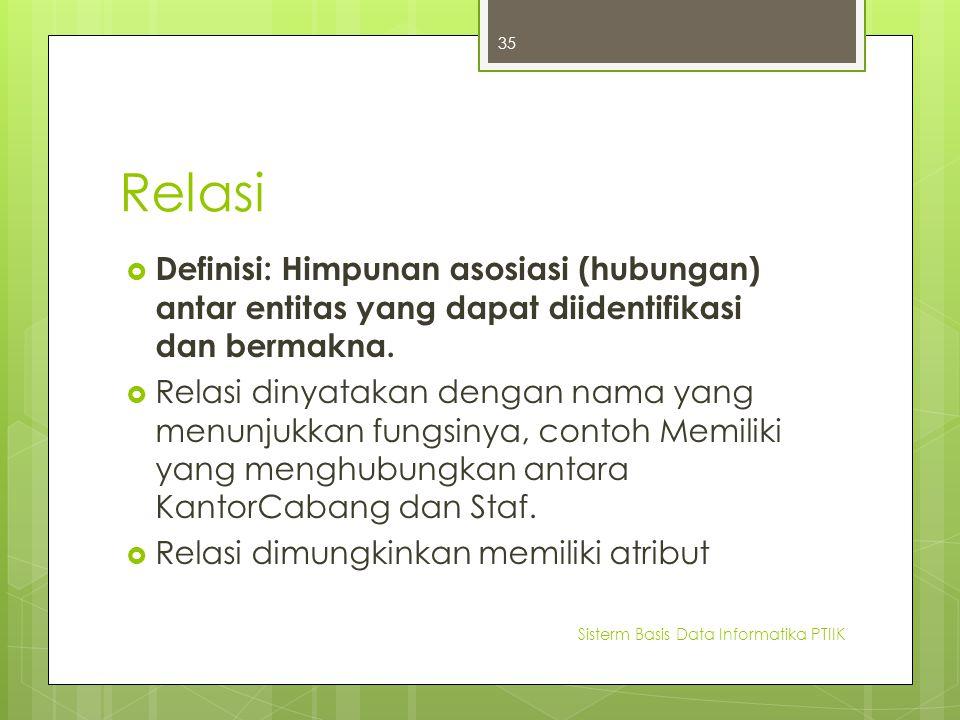 Relasi Definisi: Himpunan asosiasi (hubungan) antar entitas yang dapat diidentifikasi dan bermakna.