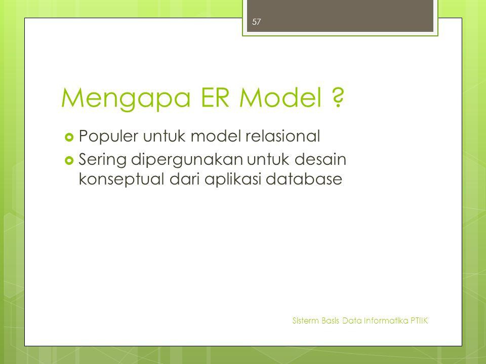Mengapa ER Model Populer untuk model relasional