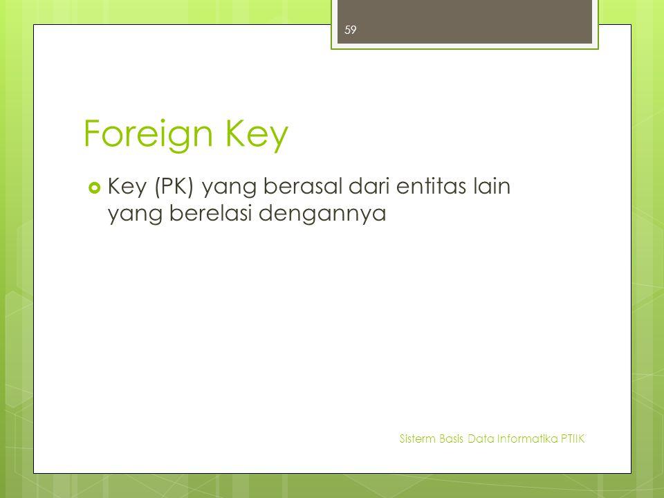 Foreign Key Key (PK) yang berasal dari entitas lain yang berelasi dengannya.