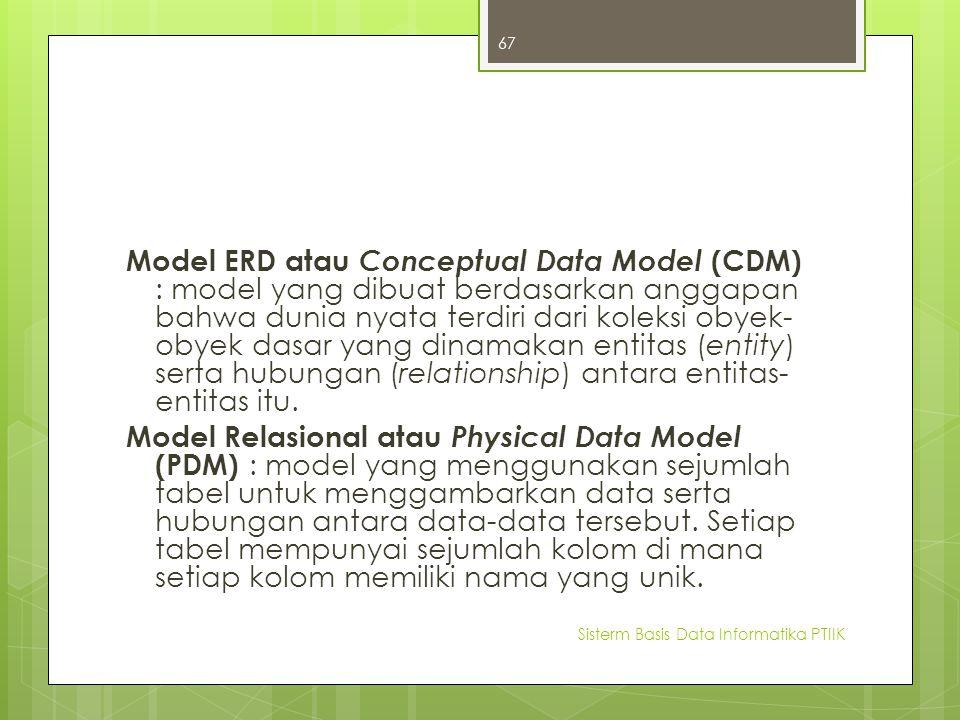 Model ERD atau Conceptual Data Model (CDM) : model yang dibuat berdasarkan anggapan bahwa dunia nyata terdiri dari koleksi obyek-obyek dasar yang dinamakan entitas (entity) serta hubungan (relationship) antara entitas-entitas itu.