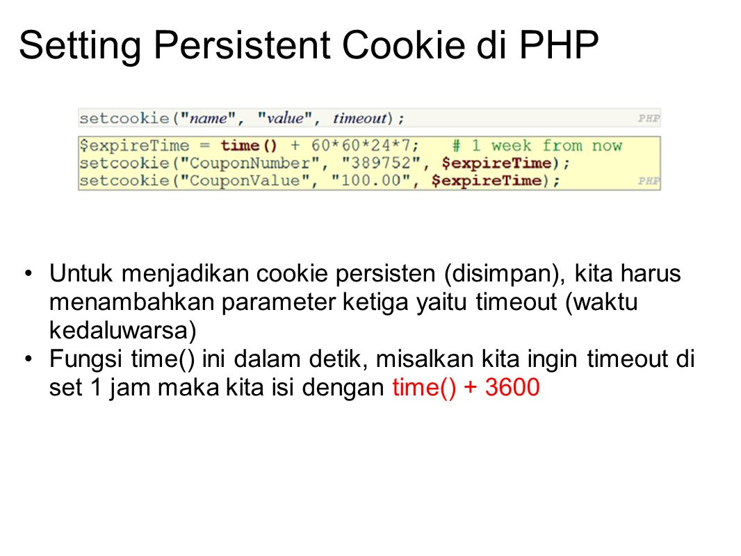 Setting Persistent Cookie di PHP