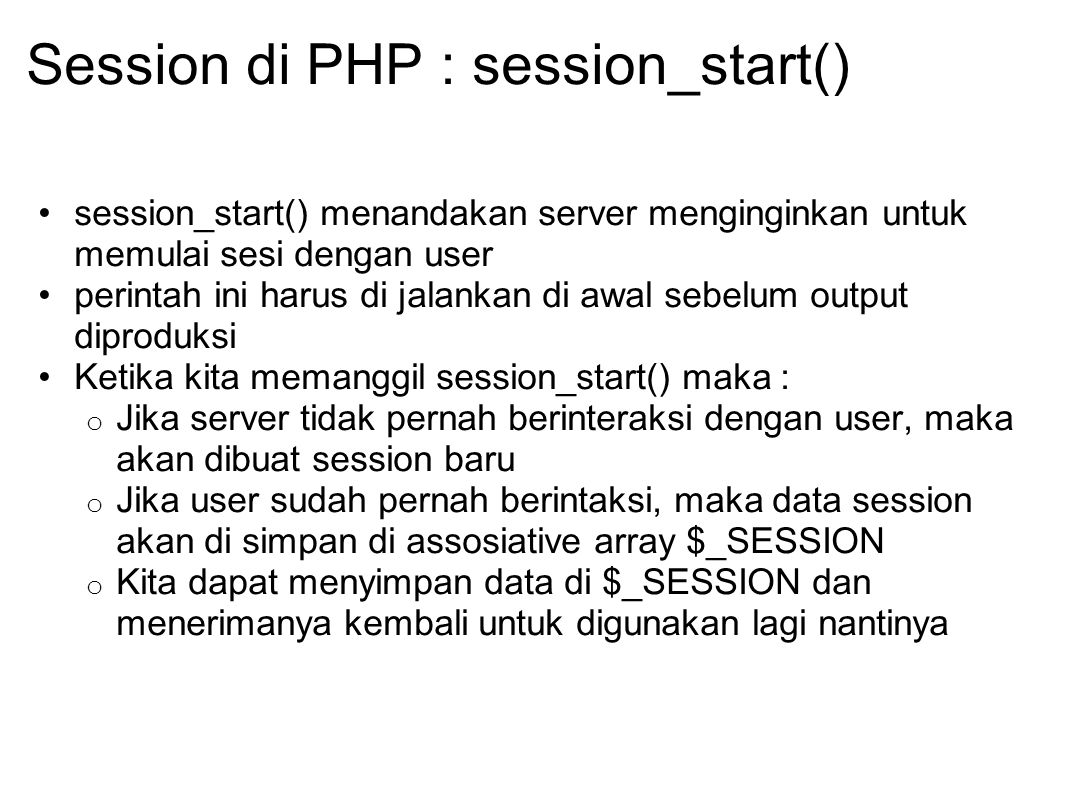 Session di PHP : session_start()