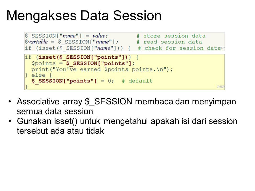 Mengakses Data Session