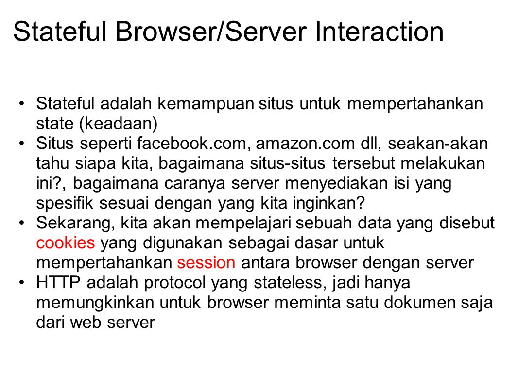 Stateful Browser/Server Interaction
