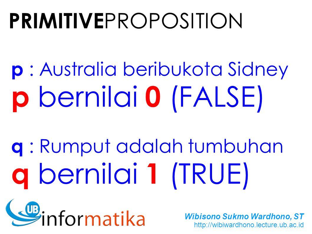 p bernilai 0 (FALSE) q bernilai 1 (TRUE) PRIMITIVEPROPOSITION
